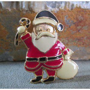 Holiday Brooch  SANTA CLAUS  Gold & Enamel Xmas